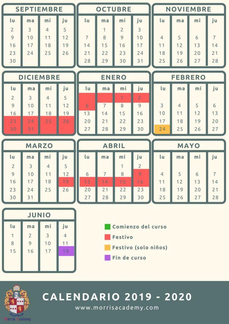 Calendario en Castellano 2019-2020